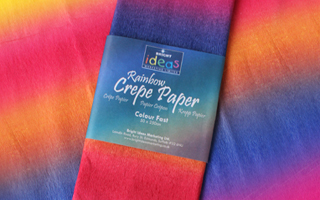 Rainbow range of paper, card, tissue paper and crepe paper