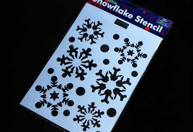 BI0625 Plastic Snowflake Stencil 36cm x 22cm, 6 snowflake designs