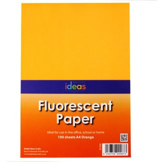 BI1038 Fluorescent Paper Orange A4 PK100