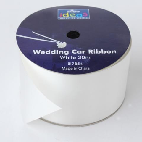 BI7854 White Wedding Car Ribbon