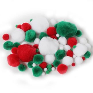 BI8021 Christmas Pom Poms pk100 Assorted
