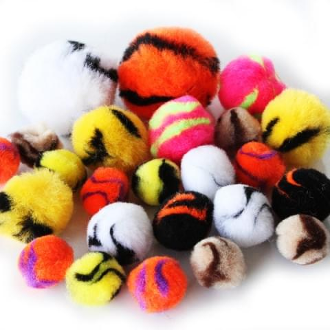 BI8022 Stripy Pom Poms pk100 Assorted