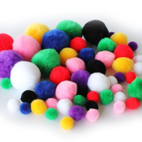BI8024 Colour Pom Poms pk100 Assorted
