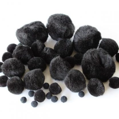 BI8025 Black Pom Poms pk100 Assorted