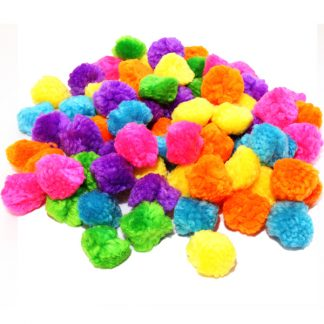 BI8027 Woolly Pom Poms pk100 Assorted