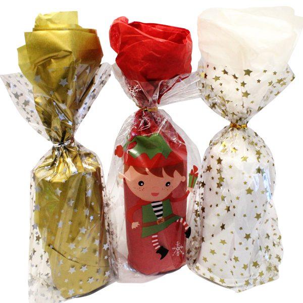Christmas Cellophane Bags Pk12