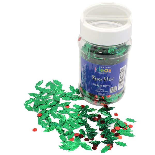 Holly and Berry Confetti Sparkles 100g Jar