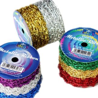 Christmas Elastic Metallic Ribbon