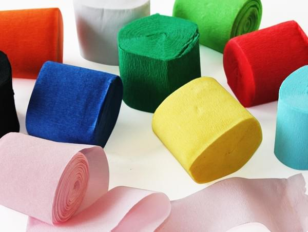 BI0615 Crepe Paper Streamers 5cm x 10m PK10 assorted