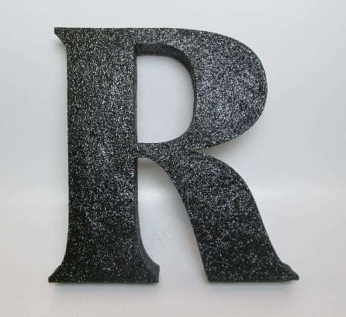 Black Glitter Letter R