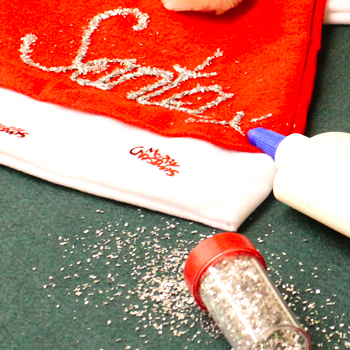 Add some glitter to your Santa Hat
