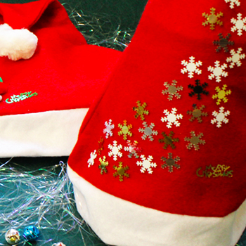 Add some cascading snowflakes to your Santa Hat