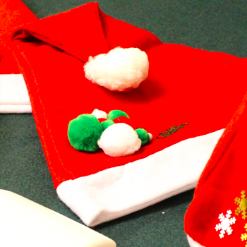 Add some Pompoms to your Santa Hat