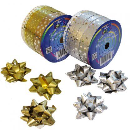 Gold & Silver Festive Ribbon Spools