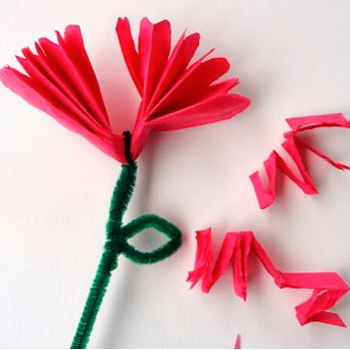 paper flowers pipe cleaners