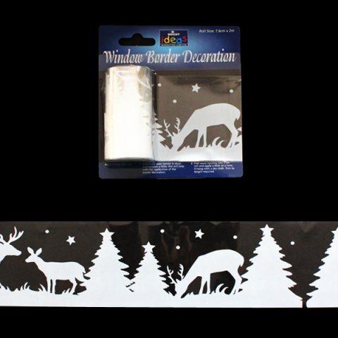 Window Border Grey Reindeer&Trees