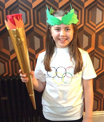 Olympics crafts - make a t-shirt, laurel wreath, Olympic torch and Olympic medals