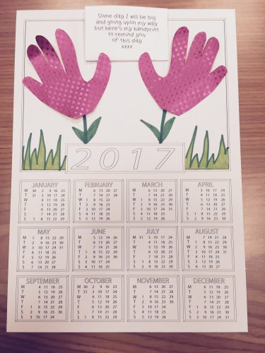 Back to school - calendar blanks handprints