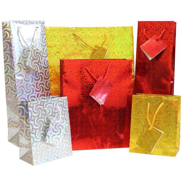 Christmas Bags.Christmas Holographic Gift Bags Pk08