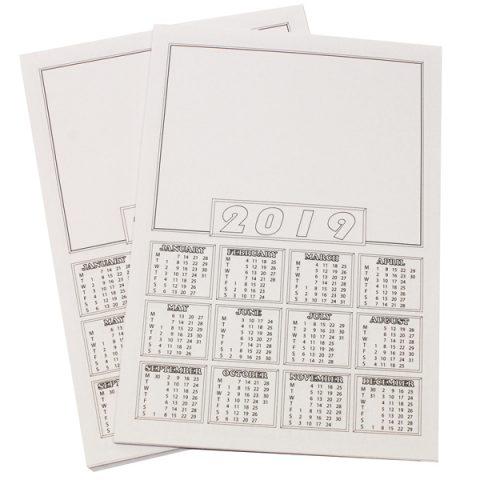 2019 Calendar Blanks A4 PK50