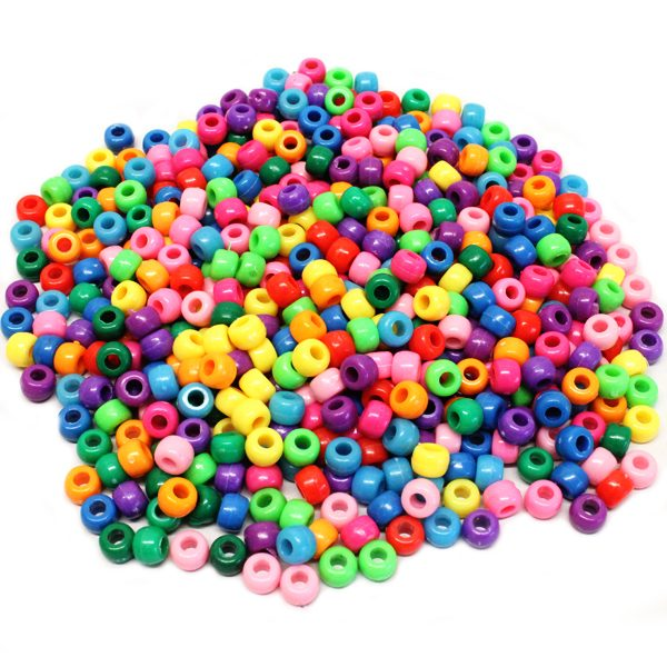 BI7968 Assort Colour Barrel Beads PK500