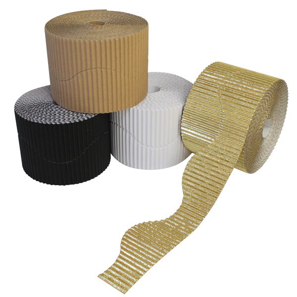 BI7873 Neutral Shades Corrugated Border Rolls PK04
